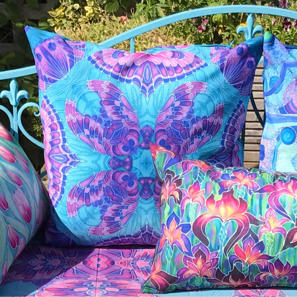 Butterfly Showerproof Garden Cushions - Bohemian Pretty Exterior Throw pillows