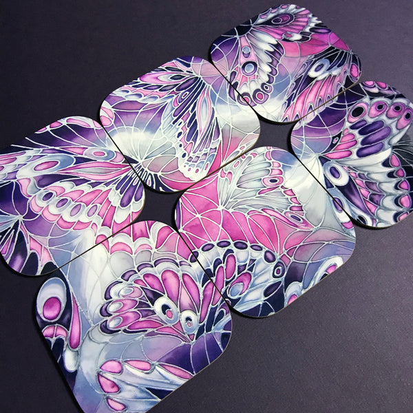 Purple Grey Placemats & Coasters - High Quality Table Mats - Purple Butterfly Tableware
