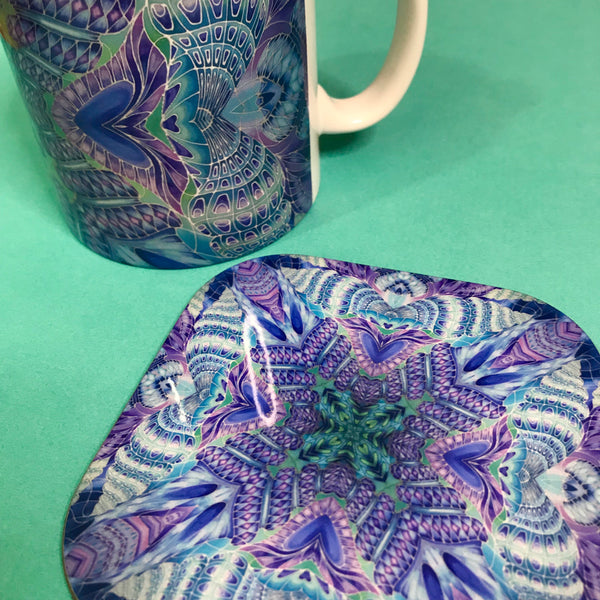 Spiral Shells Kaleidoscope Table Mats and Coasters- High Quality Table Mats - Blue Purple Green Tableware