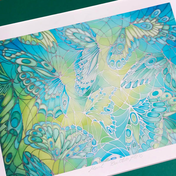 Green Butterfly Signed Limited Edition Print - Delicate Butterfly Print - Mint Green Butterfly Print - Bedroom Art