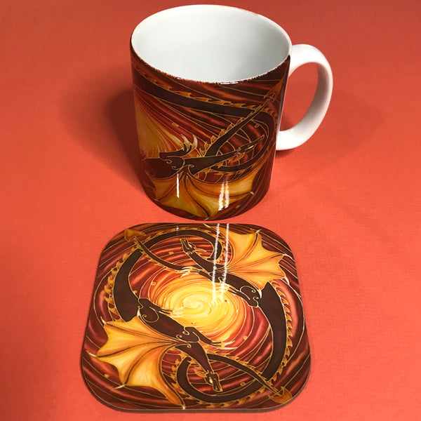 Sun Dragons Mug and Coaster Box Set - Dragon Mug - Game of Thrones Gift
