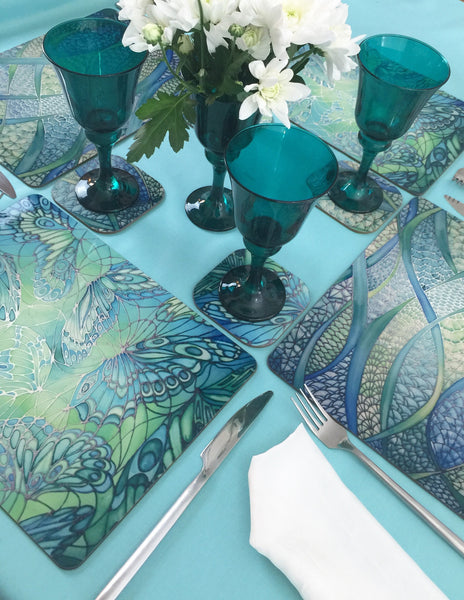 Butterflies Table Mats & Coasters - Green Butterfly Place Mats - Green Glass Trivets