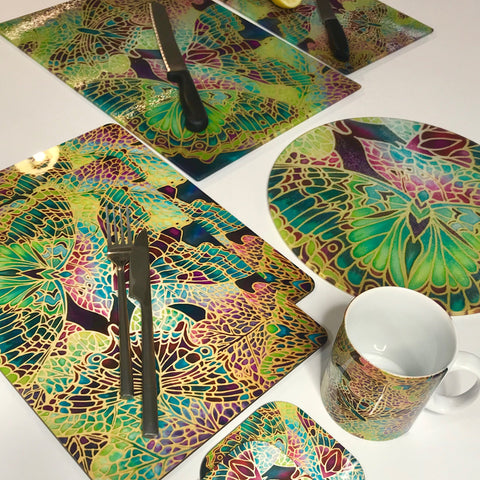 Plum Green Table Mats - Beautiful Butterfly place mats - Green butterfly chopping boards