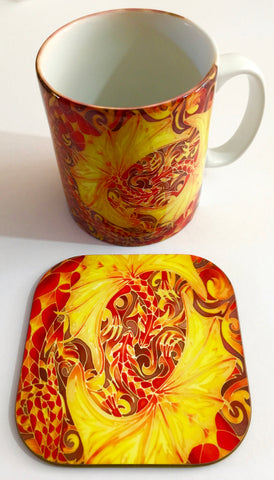 Red dragons Mug box set - Dragon Mug and Coaster - Game of Thrones dragons