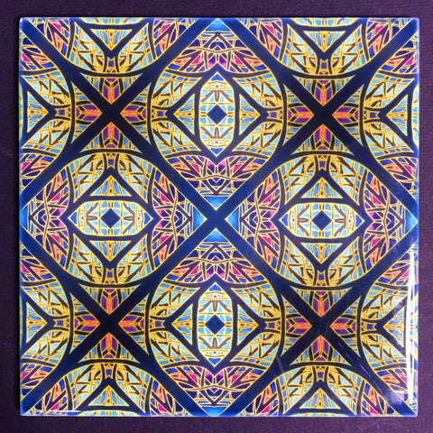 Arts and Crafts look Cathedral Diamond Window Ceramic Tiles - Multi coloured Bohemian  Ceramic Printed Tiles
