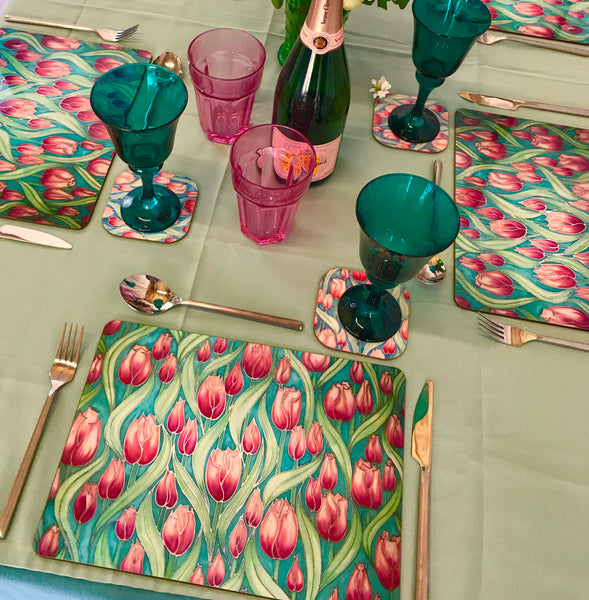 Tulips Tulips glass chopping boards - Placemats & Coasters - Pink Green Table Mats - Durable Hardwearing Tableware