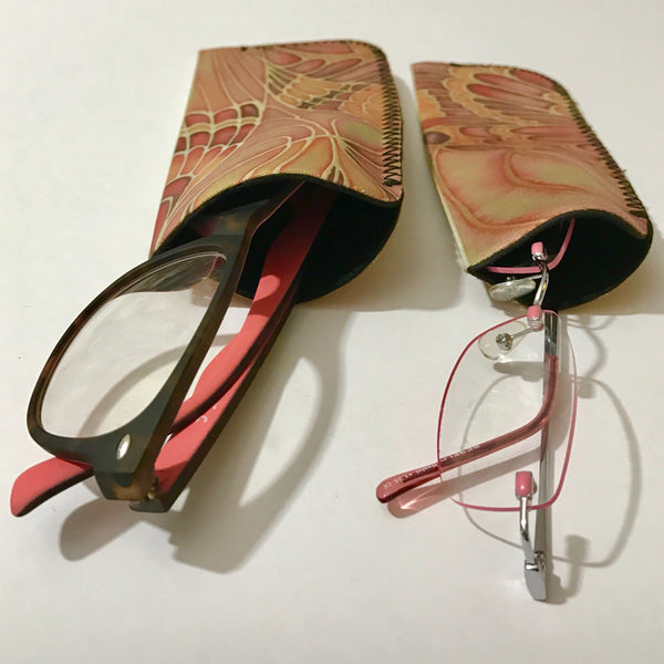 Terracotta Butterfly glasses case - slip-on padded glasses cover - reading or large glasses cover