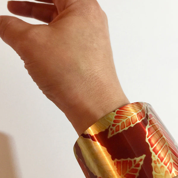 Red Yellow Cuff Bracelet - Swirl Comtemporary Bracelet - easy wear lightweight aluminium.