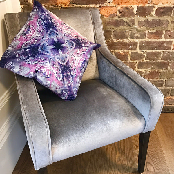 Purple Velvet Butterflies Cushion - Luxury Velvet Fabric - purple grey Butterflies pillow