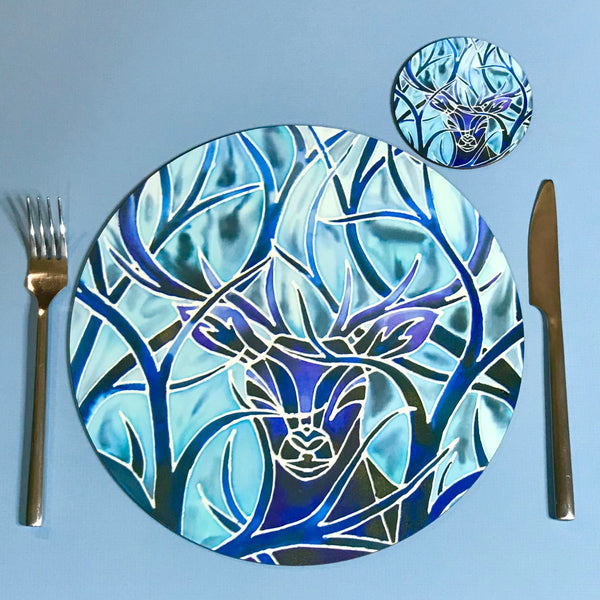Blue Stag Round Mats & Coasters - Wildlife Table Mats