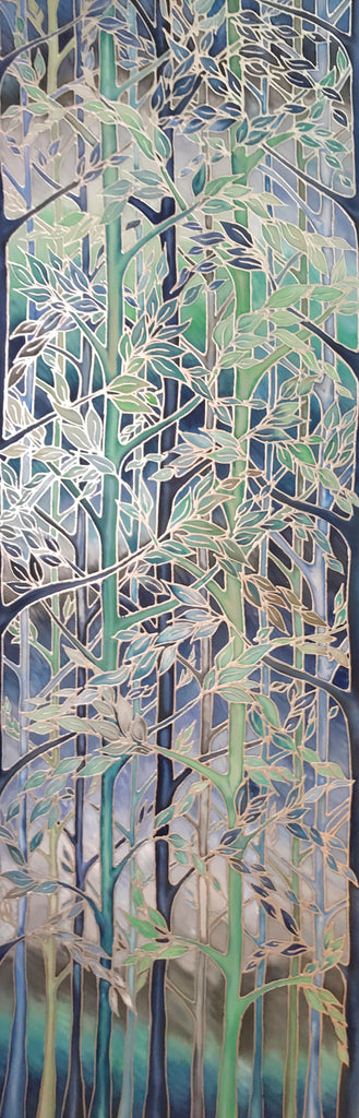 Forest Meditation Original Silk Painting -  Teal Blue Mint Original Art