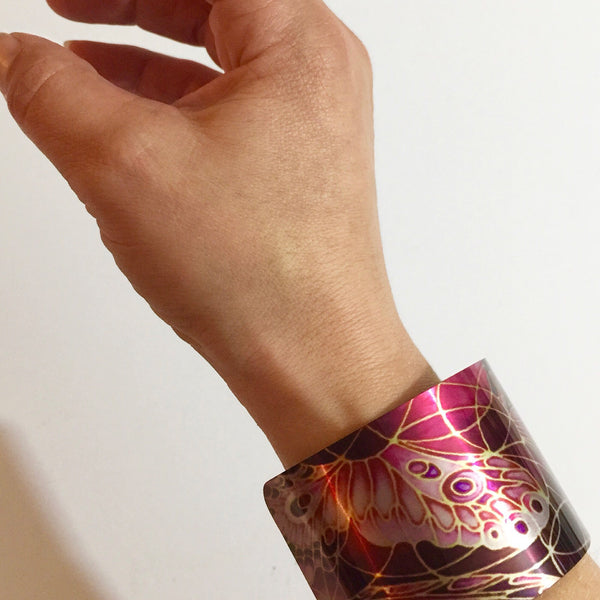 Plum Butterflies Cuff Bracelet, Comtemporary Bracelet in easy wear lightweight aluminium.