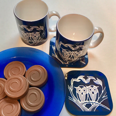 Owls Mug & Coaster - Blue Owl Mug Set - Owl Mug Gift - Woodland Lovers