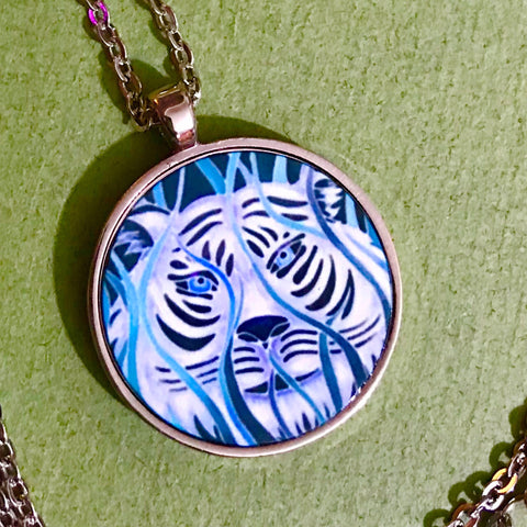 Blue & White Tiger Necklace - Wildlife Necklace - Affordable gift