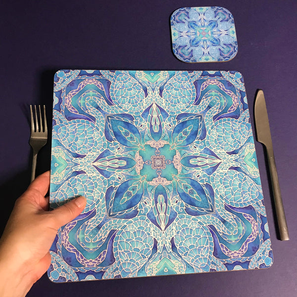 Blue Turtle Mandala Square Mats & Coasters - Sea Life Table Mats