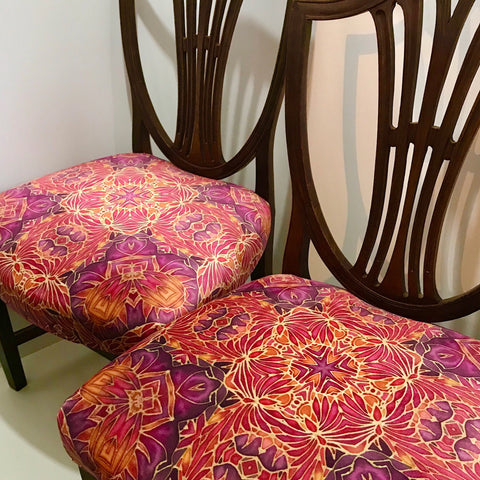 Dining Chairs Set of four - Bespoke Butterfly Fabric Re-Covering