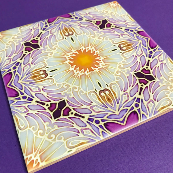 Pretty Stylised Daisy Tiles - cream and Plum Bohemian Ceramic Printed Tiles