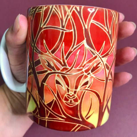 Stag Mug and Coaster box set or mug only - Red Mug Set - Wild Stag Mug Gift