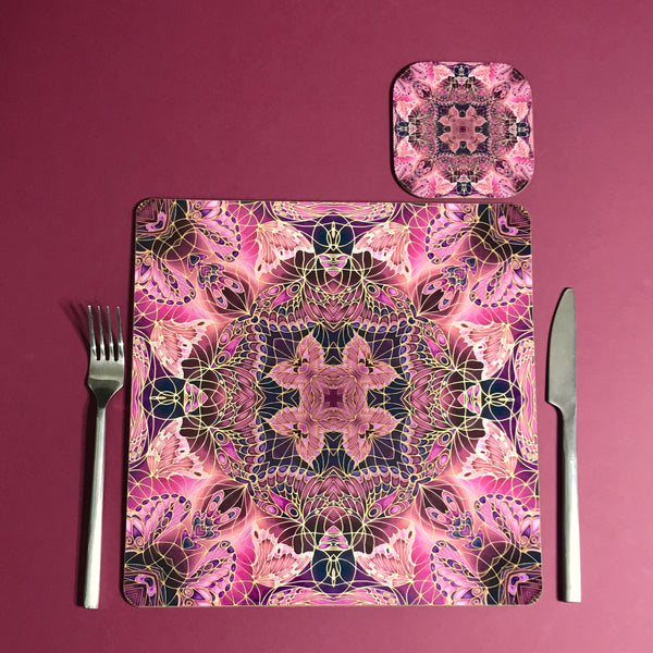 Plum Butterfly Kaleidoscope Square Table Mats & Coasters - Table Mats