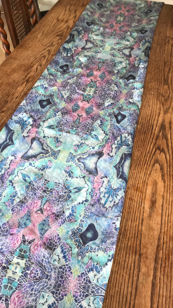 Butterfly Table Runner - Mosaic look lilac grey mint pink table runner