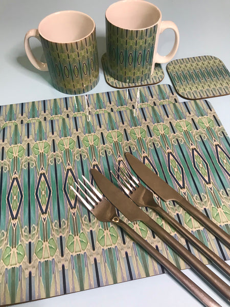 Deco Style duck egg, sage, turquoise Table Mats - green chopping boards