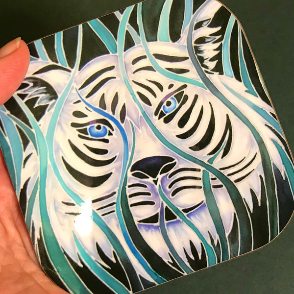 Majestic White Tiger  Mug in teal green aqua and white - Wildlife Lovers Mug Gift