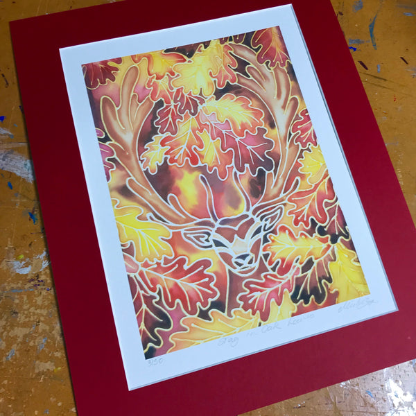 Majestic Stag in Woodland Print - Red Wildlife Art Print