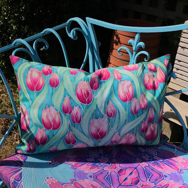 Pink Magnolias Showerproof Cushion - Showerproof Canvas Garden Textiles - pink and sky blue cushion