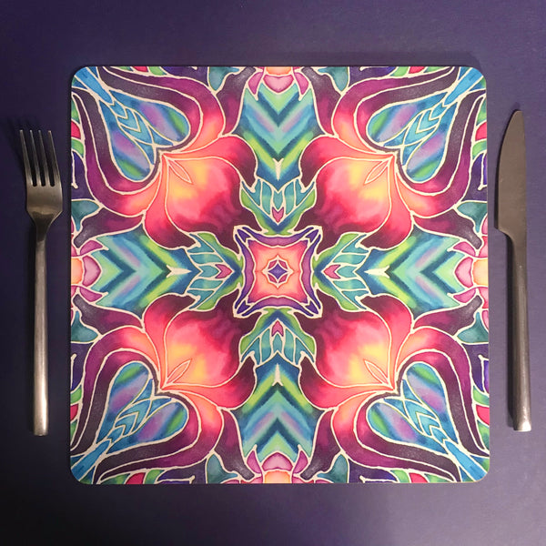 Purple Iris Kaleidoscope Table Mats and Coasters - Iris chopping board - Durable Tableware