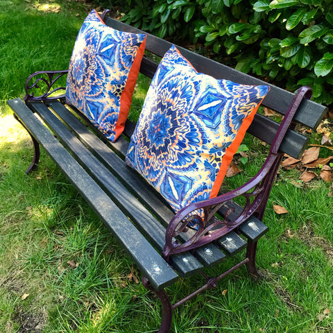 Grey blue showerproof Cushions - Orange grey blue  Garden Cushion