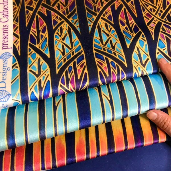 Turquoise Blue Red Purple Yellow and Gold Designer Velvet Curtain Fabric, Cathedral Trees, Order by Drop Length Needed