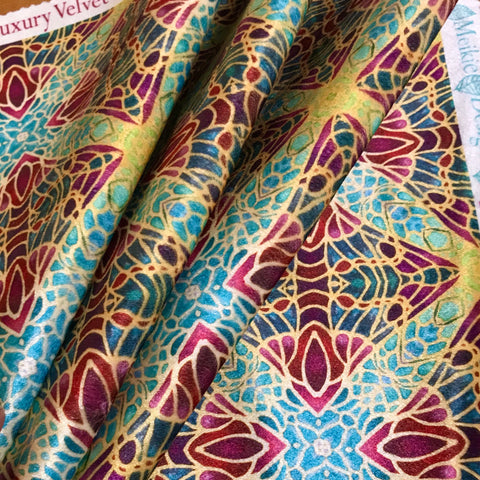 Teal Green Red Lime Gold Star Butterfly Designer Luxury Velvet fabric for curtains, upholstery and soft furnishings