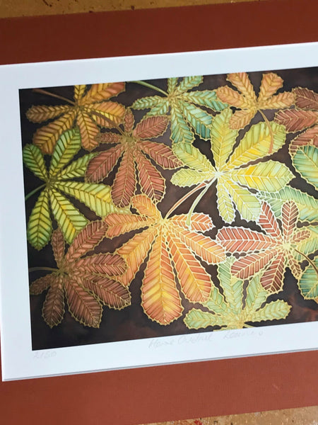 Warm Autumnal Horsechestnut Leaves Art Print - Autumn Leaves Living Room Art
