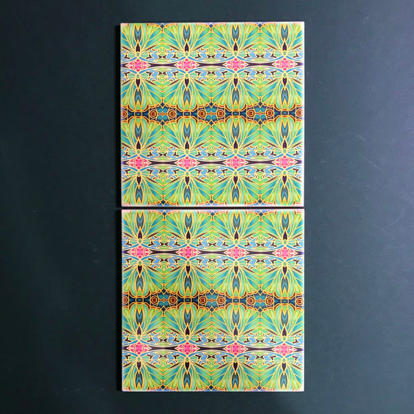 Nouveau Style Moss Green Butterfly Tiles - Beautiful Green Turquoise Tiles - Bohemian Ceramic printed  Tiles