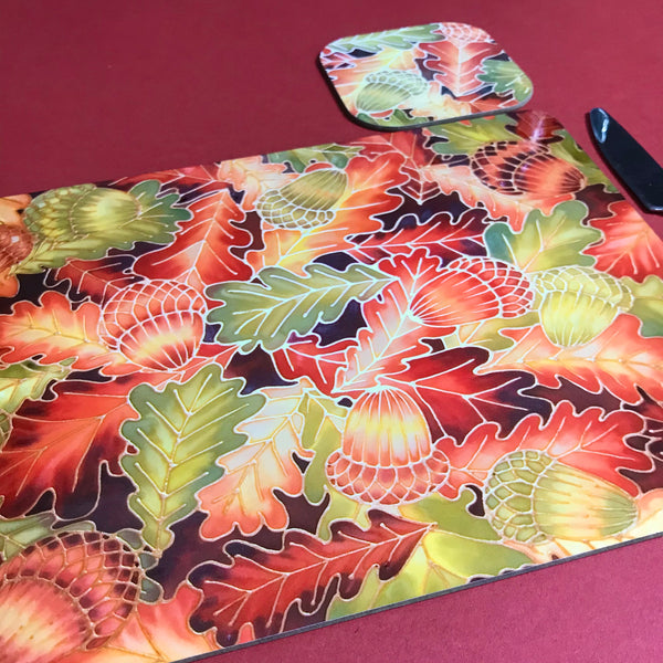 Oak Leaves & Acorns Placemats - green rust Table Mats & coasters - Oak  glass chopping boards