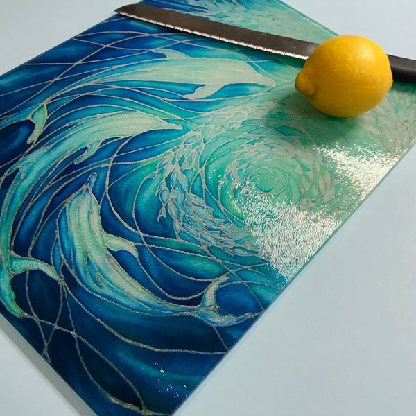 Dolphins Glass Chopping Board - Dolphin Trivet - Blue Pot Stand - Heat Proof Table Top Saver - Decorative Platter