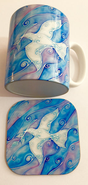 Peace Dove Mug and Coaster - White and Blue Mug Set - Dove of Peace Mug Gift