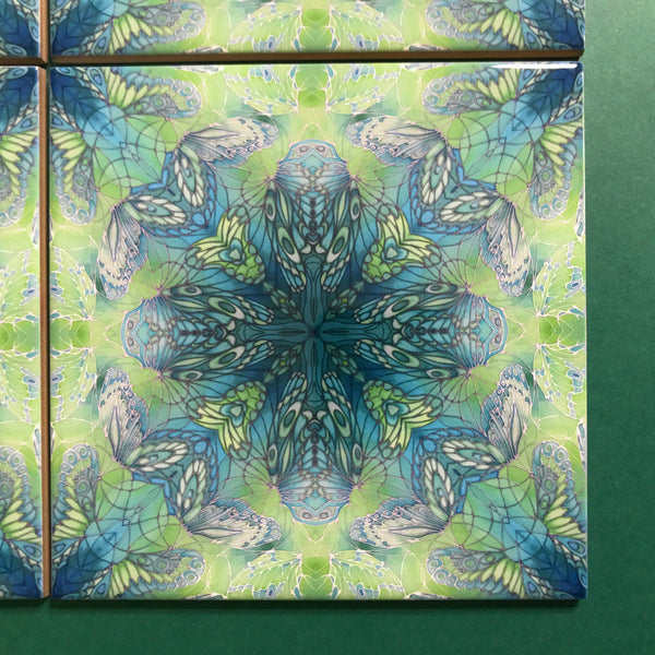 Contemporary Mint Green Butterfly Tiles - Beautiful Green Turquoise Tiles - Bohemian Ceramic printed  Tiles