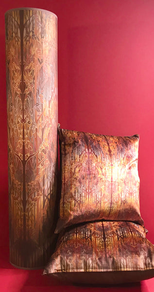 Autumn Whispers Contemporary Floor Lamp  - Welcoming Light Art Lamp - Copper russet grey trees Lamp