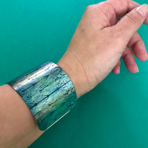 Forest |Green Cuff Bracelet - Comtemporary Teal Green Bangle - easy wear lightweight aluminium.