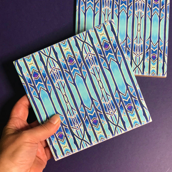 Celestial Blue Trees Ceramic Tiles -  Ceramic Hand Printed Tiles