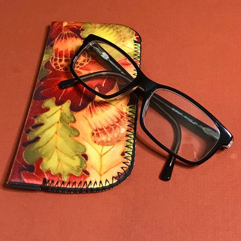 Oak Leaves Glasses Case - slip-on padded glasses cover - reading / large glasses cover