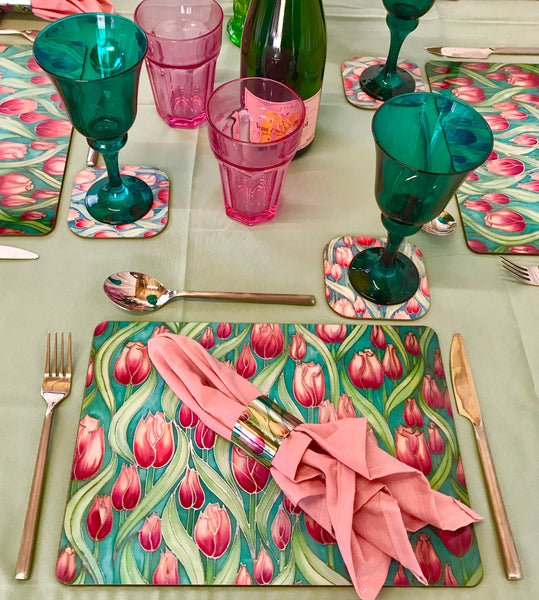 Tulip Field Table Mats and Coasters - Pink green Place mats and coasters - Tableware pink Tulips