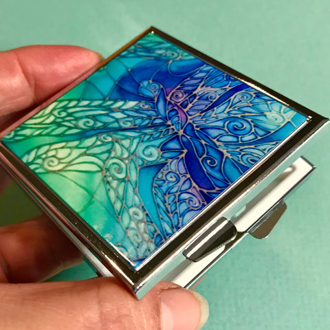 Blue Dragonflies Large Pill Box - Stud Earing Jewellery Box