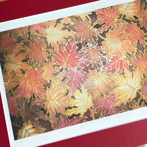 Autumnal Maple Leaves Print - Rich Warm Maple Leaves Art Print - Terracotta and a Beaujolais Red Print