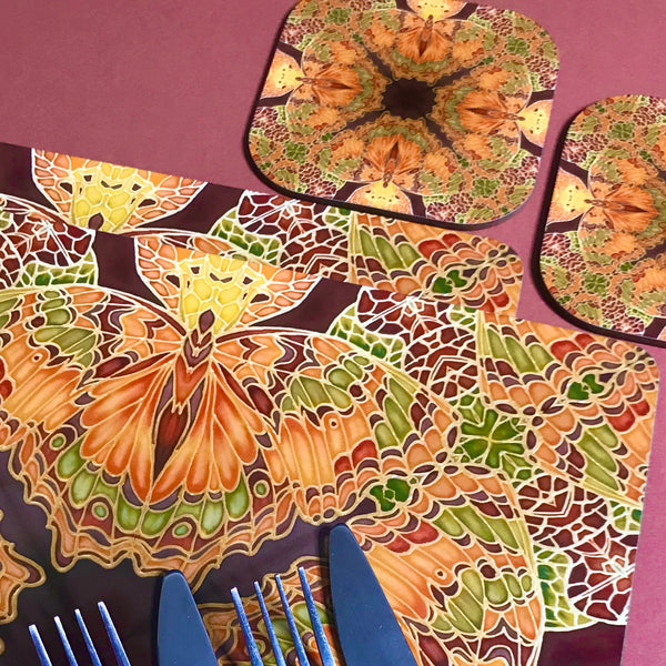 Green Caramel Kaleidascope Butterfly Table Mats & Coasters - Kaleidascope Butterfly Table Mats