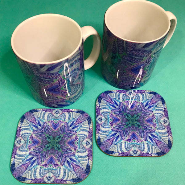 Persian Design Table Mats and Coasters - High Quality Table Mats - Blue Purple Green Tableware