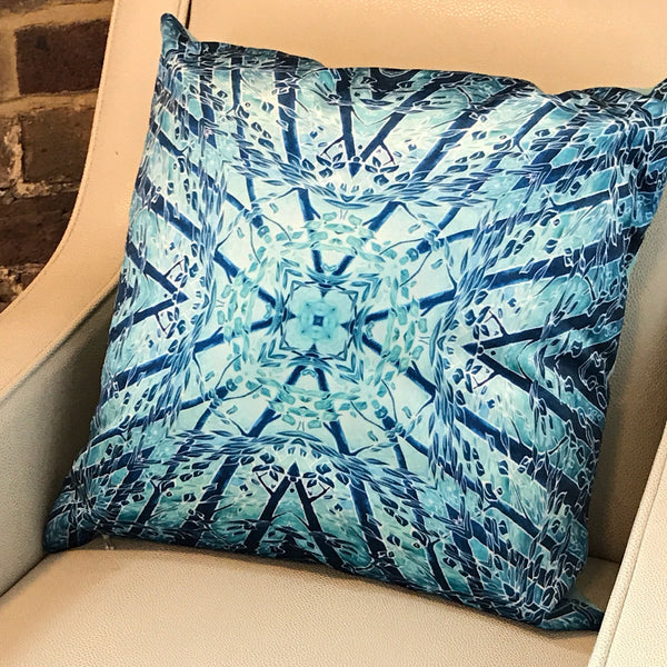 Teal Mint Velvet Cushion - Luxury Teal Blue Velvet - Intricate pattern Teal pillow