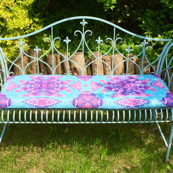 Blue Shell Garden Seat Pad - Made to Order Exterior Textiles - Pretty Shower Proof Fabrics