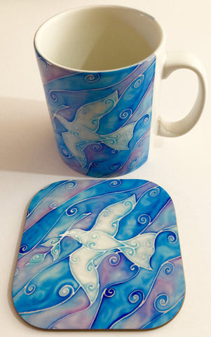 Peace Dove Mug and Coaster box set or mug only - White and Blue Mug Set - Dove of Peace Mug Gift